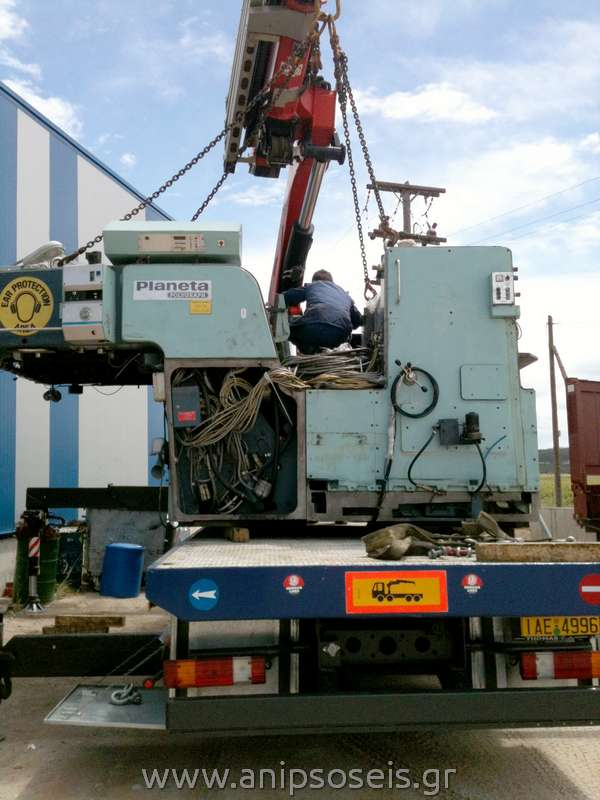 μεταφορά μηχανήματος με ανυψωτικό μηχάνημα