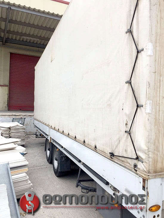 αριστερή κουρτίνα στην ρυμούλκα για γερανοφόρα οχήματα